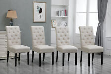 4x Beige Dining Chairs High Back Fabric Upholstered Button Tufted Dining Room