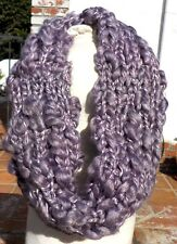 LAVENDER SOFT YARN LADIES COWL NECK SCARF HAND KNIT WITH FREE SHIPPING