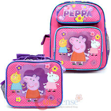 "Peppa Pig 12"" School Backpack Insulated Lunch Bag 2pc Set Pink Dots Candy Cat"