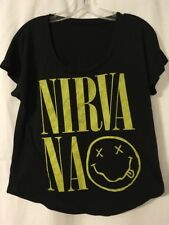 Nirvana Women's Loose Fitting Black T-Shirt Medium Made Usa Kurt Cobain