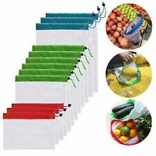 9Pcs Reusable Mesh Produce Bags Grocery Fruit Vegetable Storage Shopping