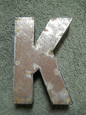"""9"""" RUSTIC Reclaimed Metal Industrial LETTER K 2"""" thick 3D TIN Sign ARCHITECTURAL"""