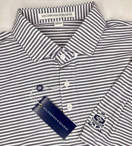 NEW Holderness & Bourne The Maxwell Gray/White DryLuxe Performance Golf Polo XL