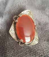 Vintage MIRACLE Celtic Miracle Brooch hyacinth orange Stone Cabochon Asymetric