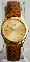 Casio MTP-1093Q-9A Men's Gold Watch Brown Design Leather Band Brand New