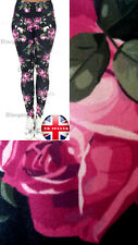 Super Soft Matte Fabric Dark Blue and Roses Leggings Trousers  One size UK 8-12