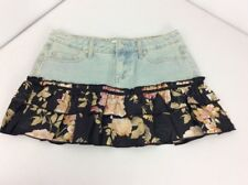 694a57185 EUC VTG 90s Charlotte Russe Light Wash Denim Miniskirt Black Tier Floral  Ruffle
