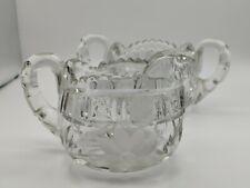 Vintage Heavy Lead Crystal Etched Cut Floral Glass Creamer & Open Sugar Bowl Set