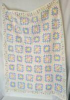 VTG Handmade Crochet Afghan Blanket Throw Granny Pink BABY blue Yellow 42 X 32