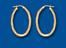 Gold Hoop Oval Earrings Rope Twist 21 x 33mm Hoops Creole Hallmarked