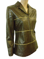 LADIES FAUX LEATHER JACKET in DARK BROWN COLOR SIZE 42 (D-13)
