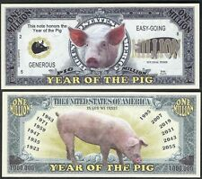 Year of the Pig Million Dollar Bill Collectible Fake Funny Money Novelty Note