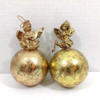 Christmas Tree Ornaments Gold Round With Cherubs Set of 2 - Paper Mache?
