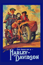 "Vintage Reproduction - Harley Davidson   - 24""x36"" Motorcycle Poster on Canvas"