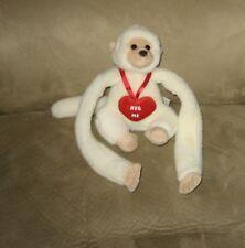 "Aurora Hanging Hands White 6"" Love Monkey Plush Animal ""Hug Me"""