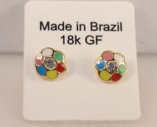 color Stud Earrings Studs Jewelry New Fashion kids18k Gold Filled Multi