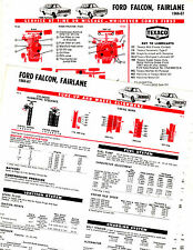 1963 1964 1965 1966 1967 FALCON FAIRLANE 6 CYL ONLY LUBRICATION TUNEUP CHARTS CC