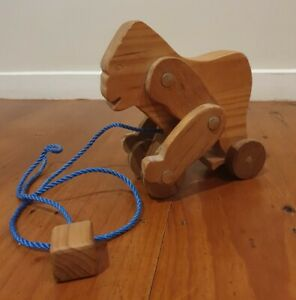 Vintage Wooden Handcrafted PULL ALONG GORILLA Toy - Must See!