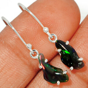 Chalama Black Opal Rough 925 Sterling Silver Earring Jewelry BE23433