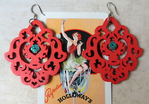 *Hand Crafted 5.5cm Long Red Laser Cut Wooden Dangle Statement Earrings