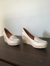 Geox D Dori S Leather Wedge Heel Penny Loafers SZ 40 USA 10 - pre-owned