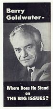 1964 DRAFT BARRY GOLDWATER President POLITICAL Brochure MASSACHUSETTS Boston