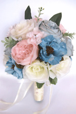 17 piece Wedding Bouquet package Bridal Silk Flowers BLUE PINK BLUSH Gray Flower