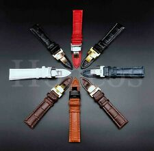 12-24MM Watch Band Strap Leather Alligator Deployment Clasp Fits For Longines