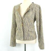 NWT  Talbots Sparkle Tweed Jacket Box Jacket Gold Brown Collarless Size 10