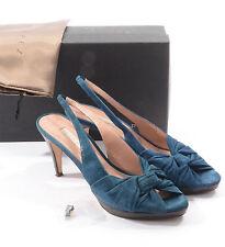 PURA LOPEZ chaussures sandales bleu cuir velours T 42