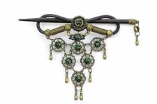 HANDMADE GREEN FAUX LEATHER HAIR BARRETTE WOOD STICK PIN