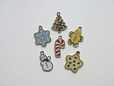 12 Enamel CHRISTMAS COOKIE CHARMS tree gingerbread man candycane + more FREE SH