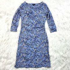 Talbots Jersey Knit Paisley Sheath Dress Size Petite S Blue Navy Career Cocktail