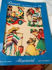 Vintage Meyercord Mexican man and woman decal sheet