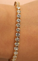 "2 Carat Excellent Cut Diamond 14k Yellow Gold Finish Tennis Bracelet 7.25"" Inch"