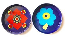 2 Vintage Retro Mid-Century Modern Psychedelic Serving Trays - Made in Brazil