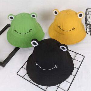Summer Cotton Cute Frog Bucket Hat Men Women Outdoor Foldable Fisherman Hat US