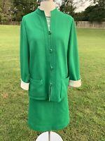 Vintage 60s Butte Knit Skirt Suit Green Striped Retro Mod Coat Jacket 3Pc. Set