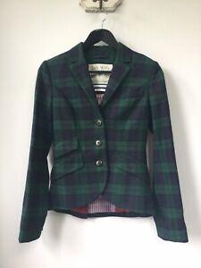 Gorgeous Ladies Jack Wills Green & Blue Check Wool Blazer/Jacket, UK Size 8, Goo