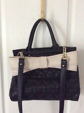 BETSEY JOHNSON BEIGE BOW /BLACK QUILTED HEART LARGE TOTE SHOULDER BAG PURSE$118