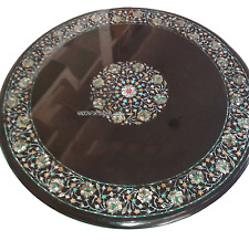 """30"""" Black Marble Coffee Table Top Mother Of Pearl Floral Inlay Art Decors 2925A"""