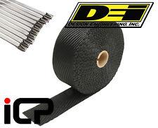 "DEI Black Titanium Heat Exhaust Wrap & Stainless Steel Tie Kit 2""x25FT Roll"