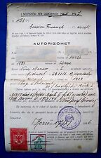 VINTAGE OLD Authorisation 1946  ALBANIA WITH 14 STAMPS TAX STAMP & RED CROSS