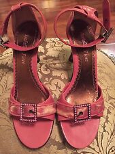 Isabella Fiore Pink Leather Sandals w/ Pink Rhinestones - Size 6.5B
