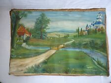 ANTIQUE oil painting of an old cottage by The River 1929