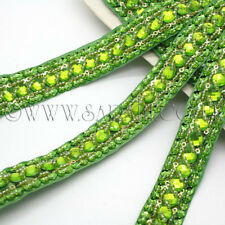 LIME GREEN Rhinestone trimming,edging,trim,sequins,beads,EMBELLISHMENT,CRAFT,ART