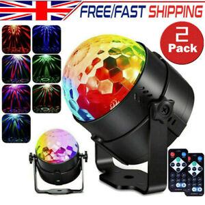 2X Remote Control LED Disco Stage Light Magic Crystal Ball RGB Rotating Party DJ