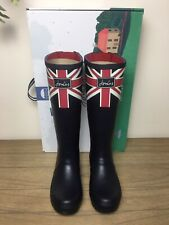 New Joules Printed Wellies Adjustable Back Gusset Size 5 Navy Union Jack Women's