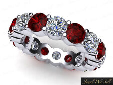 5.10Ct Round Ruby Diamond Classic Eternity Wedding Band Ring Platinum AAA G SI1
