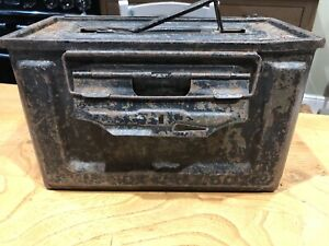 WWII US M2 Browning Machine Gun Metal Ammunition Tin Box .50 Cal